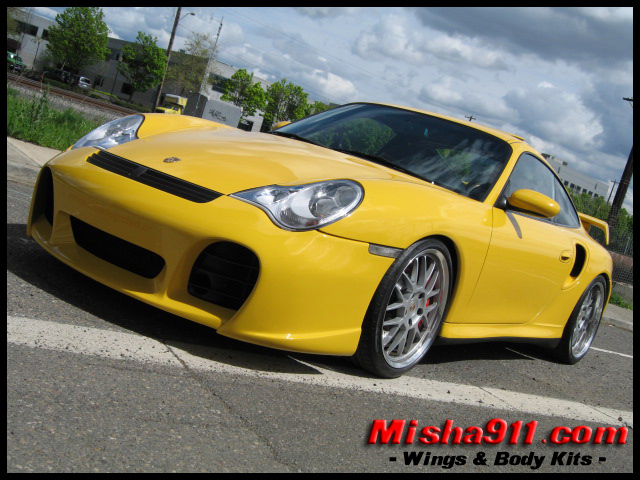 misha gt2 decklid wing replica on yellow porsche 996 turbo. Black Bedroom Furniture Sets. Home Design Ideas